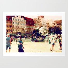 Street Life in Breslau Art Print