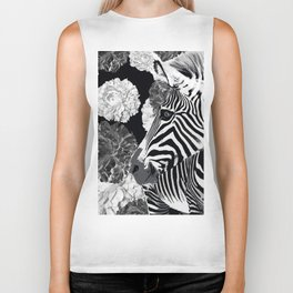 ZEBRA AND CABBAGE ROSES BLACK AND WHITE Biker Tank