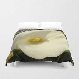 Single Cream White Calla Lily With Garden Background Duvet Cover