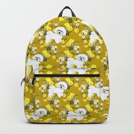 Bichon Frise on Yellow Rose Floral Autumn Gold Backpack