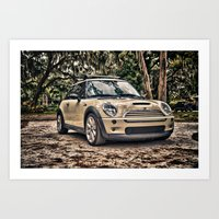 mini cooper Art Prints featuring Mini Cooper by Naked Jimmy