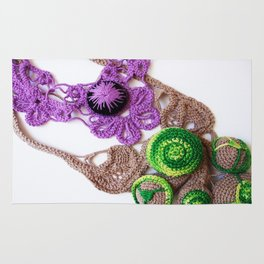 Lilac Lime Romanian Point  Lace Photography  Rug