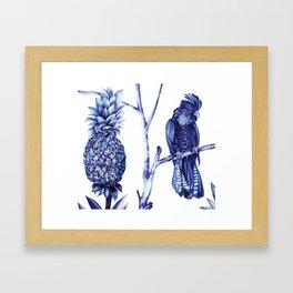 Pineapple and Bird Framed Art Print