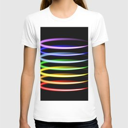 Neon rainbow light effects. T-shirt