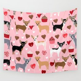 Chihuahua cute love hearts dog breed custom pet portraits dog lover valentines day gifts Wall Tapestry