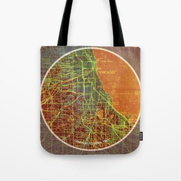 Chicago map, Frank Lloyd Wright Quote, Chicago 1957 Tote Bag