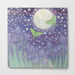Moonlit stars, luna moths, snails, & irises Metal Print