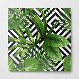 Tropical Jungle Pattern Metal Print