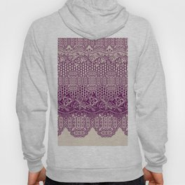 lace border with floral and geo mix in bordeaux Hoody
