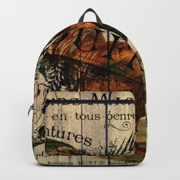 vintage typography barn wood shabby french country poulet chicken rooster Backpack