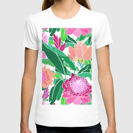Bird of Paradise + Ginger Tropical Floral in White T-shirt