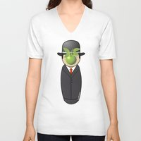 magritte V-neck T-shirts featuring Kokeshi Magritte by Pendientera