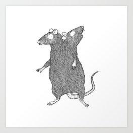 Two Headed Rat, I Love You Art Print