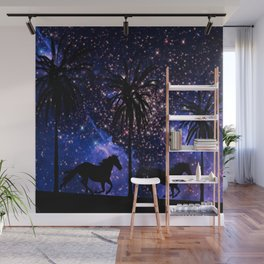 Galloping horses under starry sky Wall Mural
