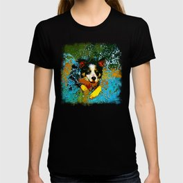 border collie jumping in water vector art T-shirt