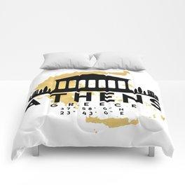 ATHENS GREECE SILHOUETTE SKYLINE MAP ART Comforters