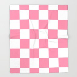 Large Checkered - White and Flamingo Pink Throw Blanket