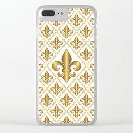 Gold Fleur-de-Lis Pattern Clear iPhone Case