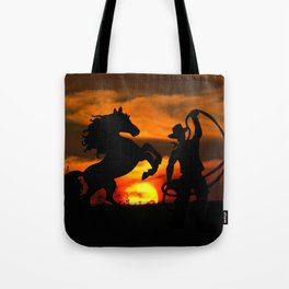 Cowboy at sunset Tote Bag