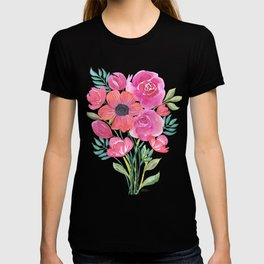 Pink Bouquet on White T-shirt