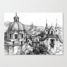 Prague over the rooftops Canvas Print