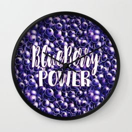 Blueberry power quote Fresh berry pattern illustration Wall Clock