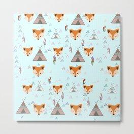 Indie fox pattern Metal Print