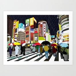 Umbrellas in Tokyo Rain Art Print