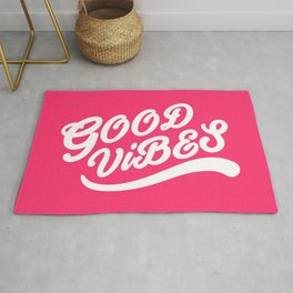 Good Vibes Happy Uplifting Design White And Magenta Rug