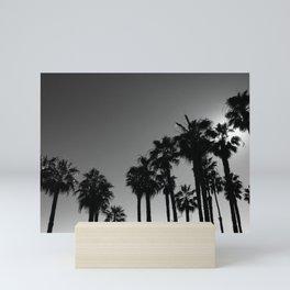 Soaring Palm Trees on the California Coast (Black and White) Mini Art Print