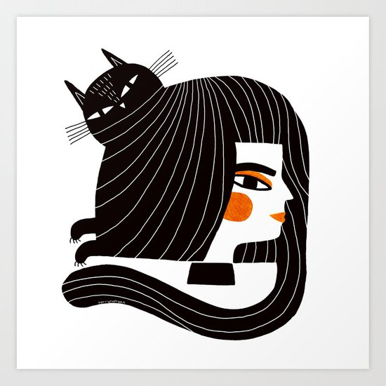 CAT HAIR Art Print