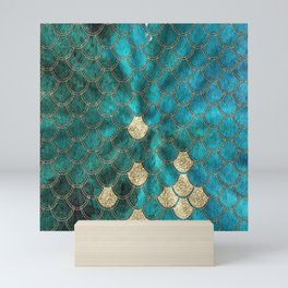 Multicolor Aqua And Gold Mermaid Scales -  Beautiful Abstract Pattern Mini Art Print