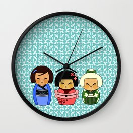 kokeshis (Japanese dolls) Wall Clock
