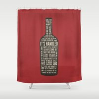 scandal Shower Curtains featuring Wine Bottle  by Luxe Glam Decor