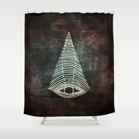 all seeing eye Shower Curtains featuring All Seeing Eye  by MirKat Design