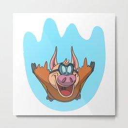 Pig flying in a wingsuit Metal Print