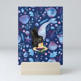 Blue ocean and cute mermaid watercolor pattern art Mini Art Print