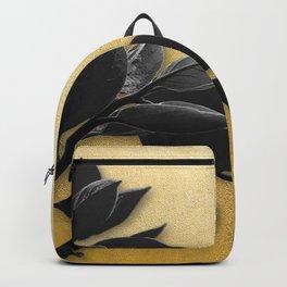 Black Foliage , Gold Background Backpack