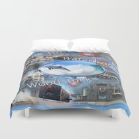 woodstock Duvet Covers featuring Greetings from Cape Town by Nadine May