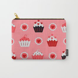 Valentine's Day Cupcake Treats & Hearts Pink Pattern Carry-All Pouch