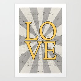 love - yellow Art Print