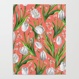 White Tulips + Babys Breath — Coral Poster