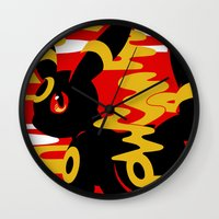 umbreon Wall Clocks featuring #197 - Umbreon by Solis