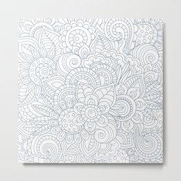 Background Zentangle (doodle) flowers Metal Print