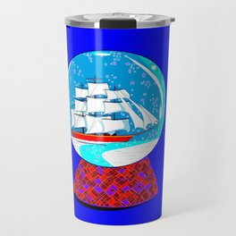 A Nautical Snow Globe with a Clipper Ship Travel Mug