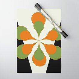 Mid-Century Modern Art 1.4 - Green & Orange Flower Wrapping Paper