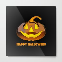 Glossy Happy Halloween Pumpkin Metal Print