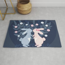 Kissing Bunnies - Dark blue Rug