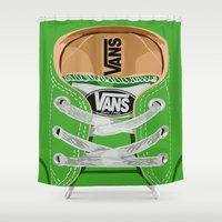 vans Shower Curtains featuring Cute Green Vans all star baby shoes apple iPhone 4 4s 5 5s 5c, ipod, ipad, pillow case and tshirt by Three Second