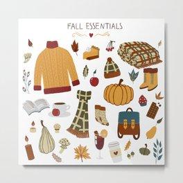 Fall Essentials Pencil Drawing Metal Print